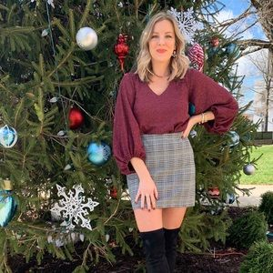 H&M plaid jersey skirt